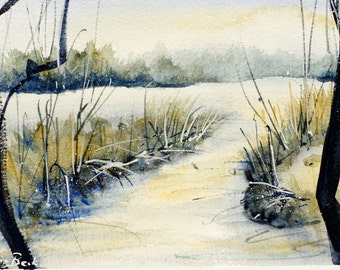 The river is everywhere. Original watercolour painting. 8,5 by 5,3 inch (13,5 by 21,5 cm)