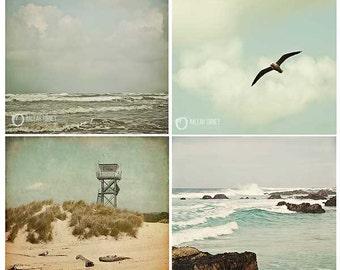 Beach Scapes Nautical Photography Collection, aqua blue mini wall art set, baby nursery prints, home decor - four photos