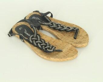 Vintage • Flip Flops • Women's • Summer Sandals • Women's Flip Flops • Black T-Strap Sandals • T-Strap Flip Flops • US 9 • UK 7 • EU 39