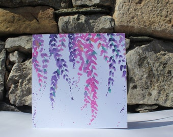 Pink Wisteria Greetings Card