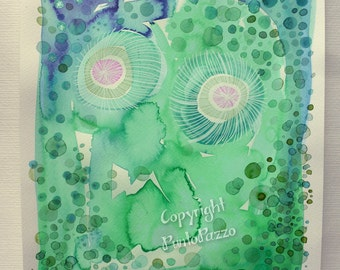 Original abstract watercolor painting,dandelion artwork on acid free paper,green Aquarelle, circles,UNFRAMED
