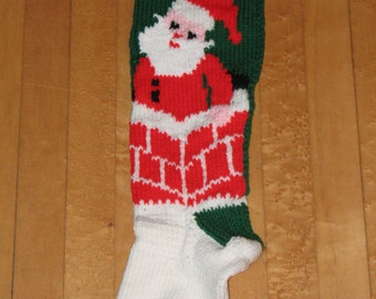 Hand Knit Christmas Stocking Santa in ChimneyTAKING ORDERS FOR 2018