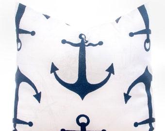 """SALE ENDS SOON Nautical Navy Throw Pillow, Anchor Pillow, Navy Pillows, Beach Decor, Blue Pillowcase, 18 x 18"""""""