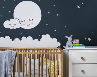 Moon, Clouds, and Stars Wall Decal - Vinyl Wall Sticker, Nursery Decor, Kids Decals