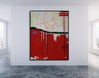 Red Abstract Painting / Abstract Art / Modern Art / Black and Red Painting / Large Painting / XL Painting / Oversized Art