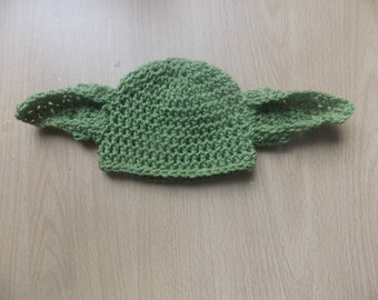 crochet green star wars baby yoda hat photo props newborn to 12 months 0-12