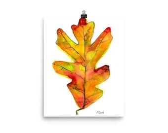 Autumn Oak Leaf / Art Print of Nature Watercolor Painting