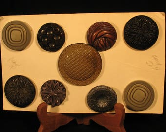 9 Large Vintage Old Buttons Carded Mixed Lot Fresh from Antique Estate Plastic
