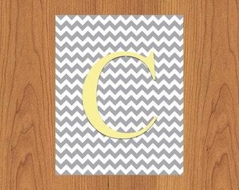 Letter C Wall Art Print Grey Yellow Nursery Decor Chevron Grey Monogram Baby Initial Nursery Decor Gender Neutral Home Decor 8x10 (27)