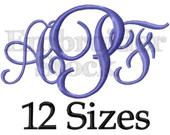 Sidney  Monogram Font Monogram Machine Embroidery Font Monogram Design Machine Embroidery Design - 12 Sizes