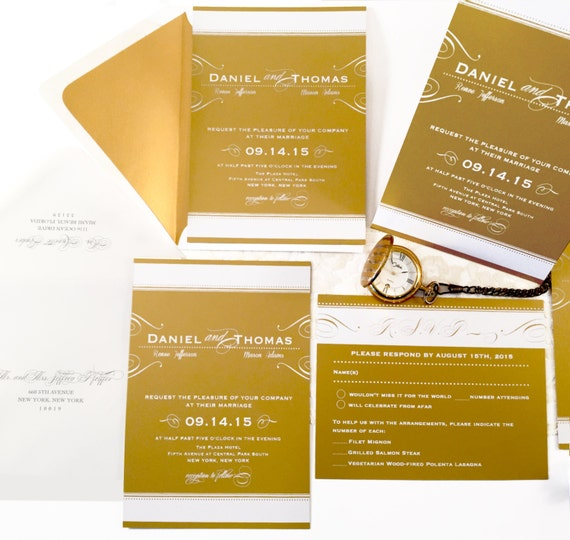 SAMPLE Gold Wedding Invitation with White Ink Wedding