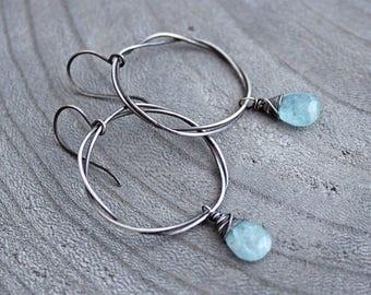Aquamarine Earrings Sterling Silver Oxidized Silver Dangle Earrings Boho Style March Birthstone Earrings March Birthday Birthstone Jewelry