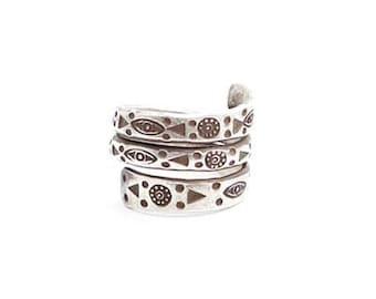 Tribal ring, Snake Tribal Ring, Sterling Silver Ring
