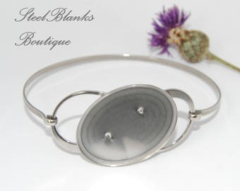 Stainless Steel Bangle Bracelet Blanks with oval tray 22x30 mm