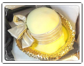 Sequined Brim Hat - Vintage Yellow & Metallic Gold with Sequined Brim Hat by Mr John-  H-055a-111713015