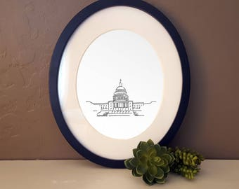 Washington DC Capitol Building Line art for Travel Lovers - Minimalist Wall Art Drawing - Travel and Architecture