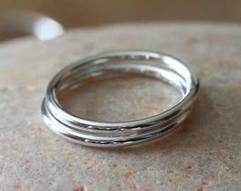 Stacking Rings Sterling Silver Set of 2, Size 2 to 15, Stacker Rings, Stopper Rings, Minimal Rings, Plain Ring Bands, Womens Rings, Unisex