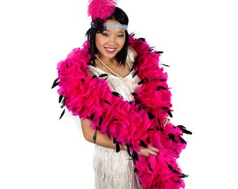 Pink and Black Feather Flapper Costume Set