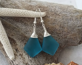 Made in Hawaii, Wire wrapped blue sea glass earrings, 925 sterling silver hook, gift box.beach jewelry.Gift for her.