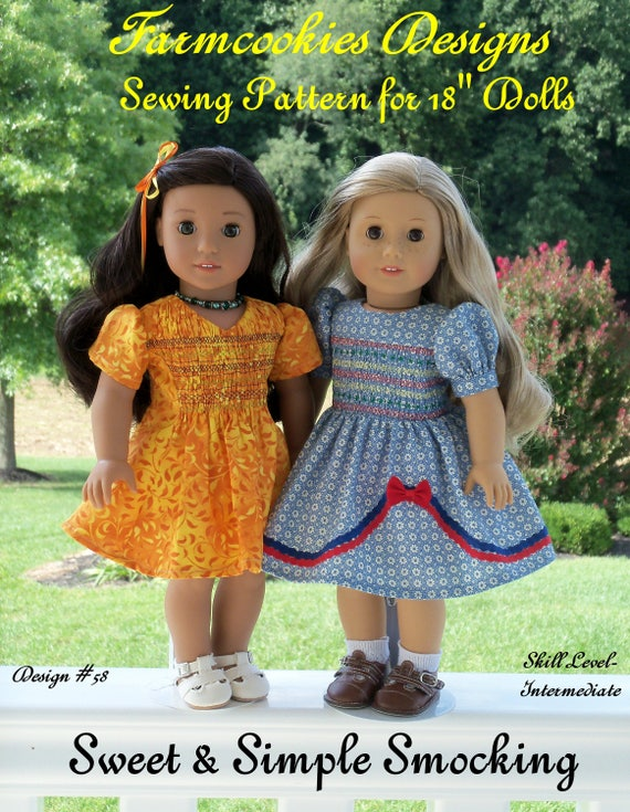 """18"""" American Girl® Size Printed Sewing Pattern: SWEET and SIMPLE SMOCKING /Pattern Fits   American Girl ®  or Other 18"""" Dolls"""