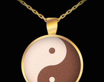 Brown Yin Yang Gold Meditation Necklace- Om Namaste Mandala Yoga Necklace