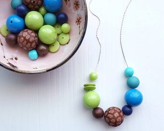 strut necklace - vintage remixed lucite - colorblock - lime navy aqua brown - chunky jewelry jewellery