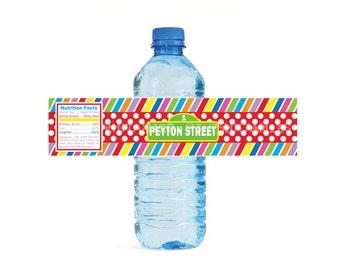 Sesame Street themed Rainbow Water Bottle Labels - Customized Digital File