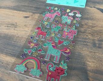 Stickersheet puffy stickers unicorns (ST02)