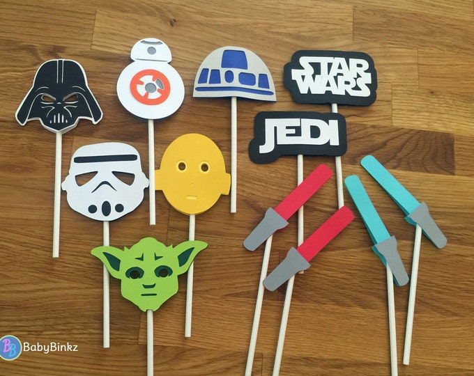 Cupcake Toppers: The Star Wars Set - party wedding birthday jedi force BB8 R2D2 CP3O darth vader yoda decoration storm trooper awakens