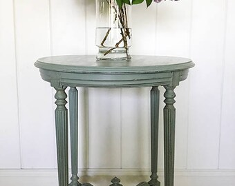 Blue Accent Table, Shabby Farmhouse Chic, Cottage Style, Duck Egg Blue