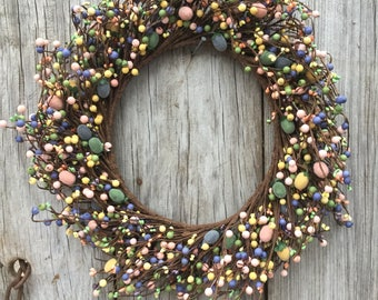 Easter Wreath with Mini Eggs and Pip Berries, Easter Decor, Storm Door Wreath, Easter Wreath, Candle Ring, Storm Door Wreath, Free Shipping