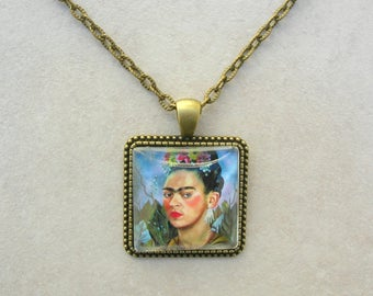 Frida Kahlo Pendant, Self Portrait, Famous Mexican Artist, Brass Chain, by SandraDesigns
