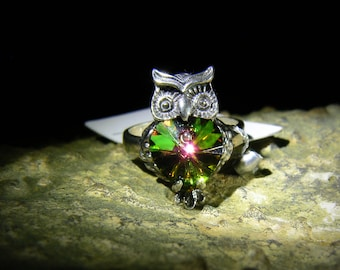 Authentic Swarovski Crystal solid Sterling Silver Owl Talisman Ring with Certificate size 6 by izida