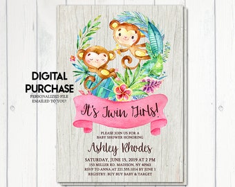 Twin Girls Baby Shower Invitation, It's A Girl, Monkey Invitation, Safari Invitation, Tropical Baby Shower, Jungle, Printable No. 1061