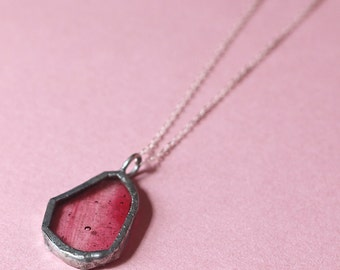 Pink Stained Glass Glass Pendant Silver Necklace
