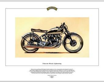 VINCENT BLACK LIGHTNING - Fine Art Classic Motorcycle Print