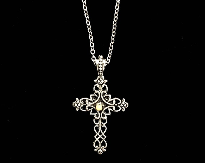 Faith of a mustard seed necklace, antique silver filigree cross necklace with a mustard seed and a petite silver stainless steel chain