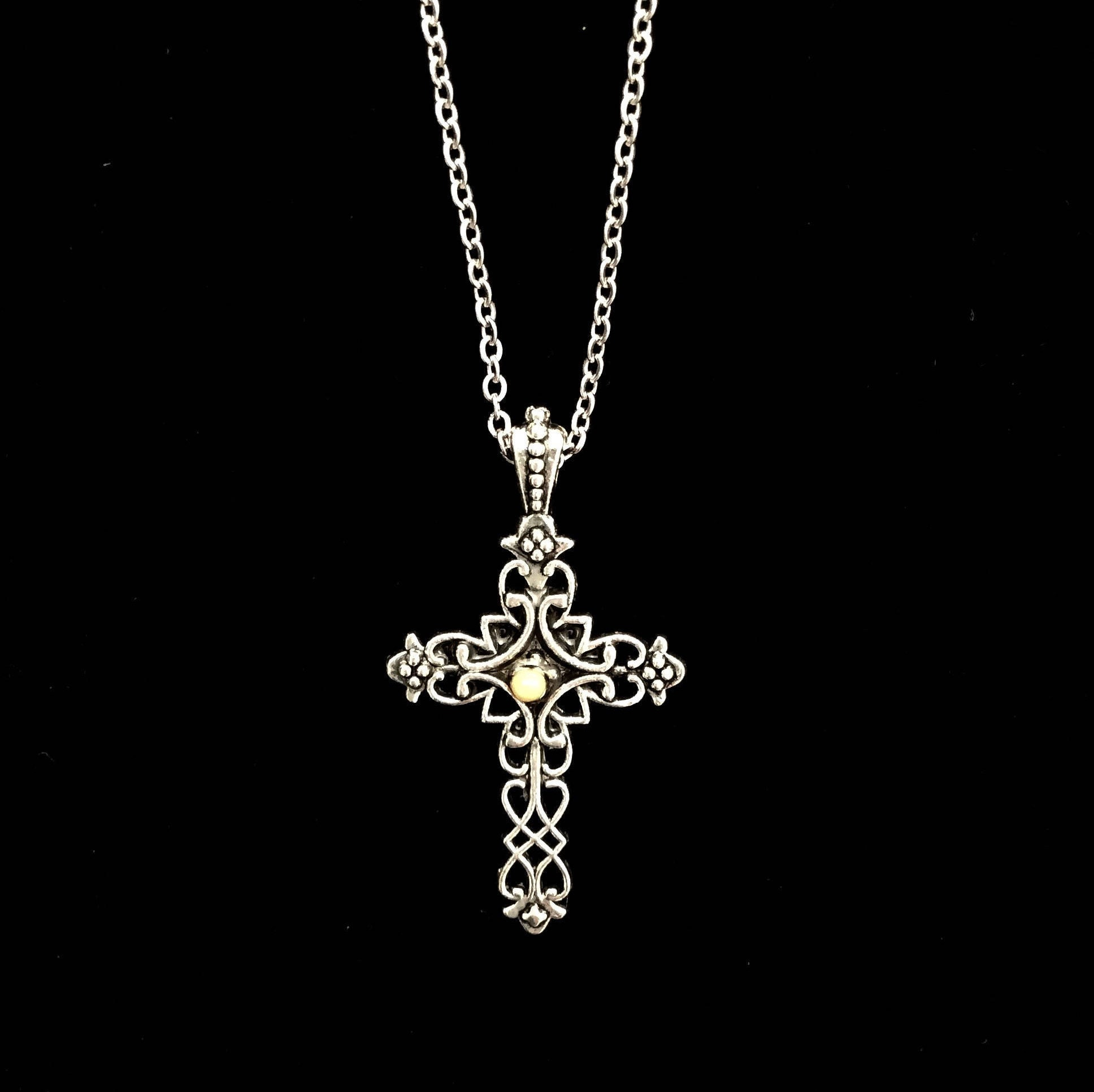Faith of a mustard seed necklace antique silver filigree cross faith of a mustard seed necklace antique silver filigree cross necklace with a mustard seed and a petite silver stainless steel chain biocorpaavc Images
