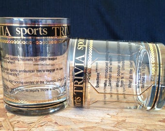 Vintage Culver  Sports Trivia Old Fashioned Bar Glasses, Pair