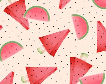 "Kori Kumi - Santoro, ""Melon Drop"" collection, Watermelo on Light pink,  from Quilting Treasures, Panel"