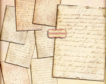 VINTAGE HANDWRITING  digital collage sheet, digital paper vintage scrapbook supplies for scrapbooking digital download