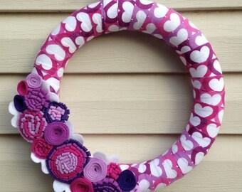 Valentine Wreath - Valentine's Day Wreath - Heart Wreath - Purple Wreath - Valentines Heart Wreath - Felt Flower Wreath - Heart Fabric