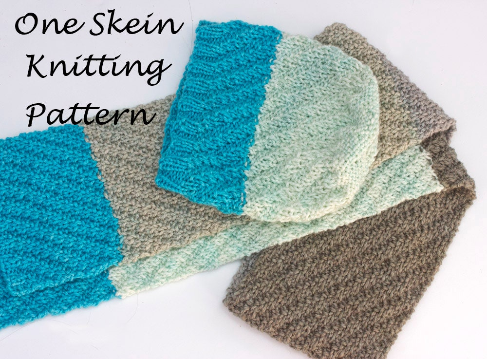 Hat and Scarf Knitting Pattern One Skein Caron Cakes Knitting