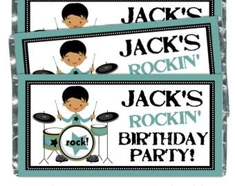 Les Wrappers garçons Rock Candy anniversaire - fit plus 1,55 oz chocolat barres, Boys Rock and Roll, cotillons anniversaire, Chocolate Bar Wrappers