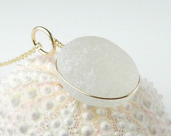 GENUINE White Sea Glass Jewelry, Gold Sea Glass Necklace, English Sea Glass, Gold Beach Glass Necklace, Gold Beach Necklace, Gift For Wife