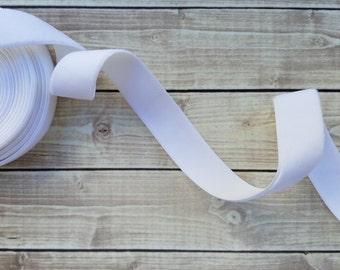 3/8 or 5/8 White Velvet ELASTIC and NON-ELASTIC Ribbon