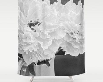 Black and White Shower Curtain, Peony Shower Curtain, Floral Bathroom Decor, Gray Bath Set, Floral Shower Curtain, White Flower Bath Mat