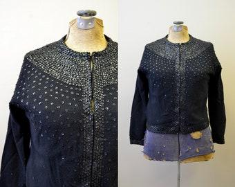 1950s Black Sequinned Cardigan Sweater