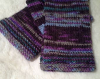 Fingerless Relaxed fit gloves, fingerless mitts. Browns, into blues as shown.