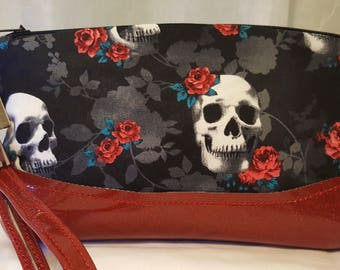 Skulls and Roses wristlet clutch